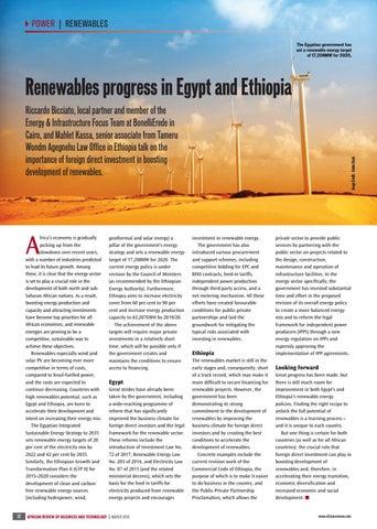 Renewables progress in Egypt and Ethiopia