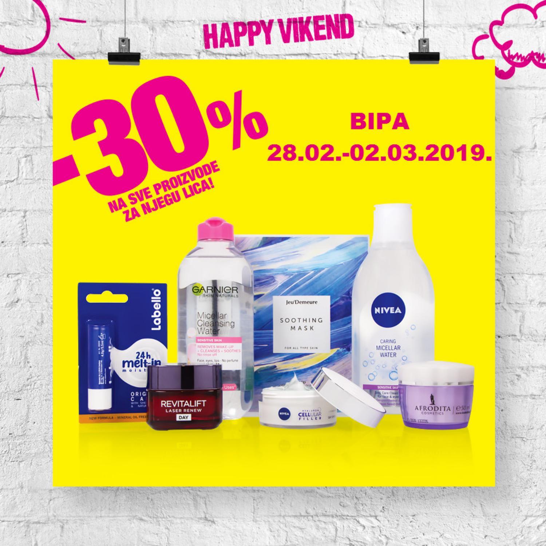 Nova Happy vikend akcija od 28.02.- 02.03.2019. u BIPA drogerijama!
