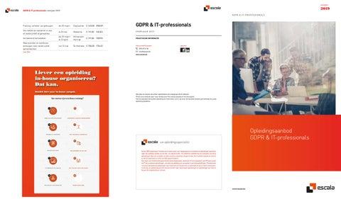 Escala opleidingen GDPR en IT professionals voorjaar 2019