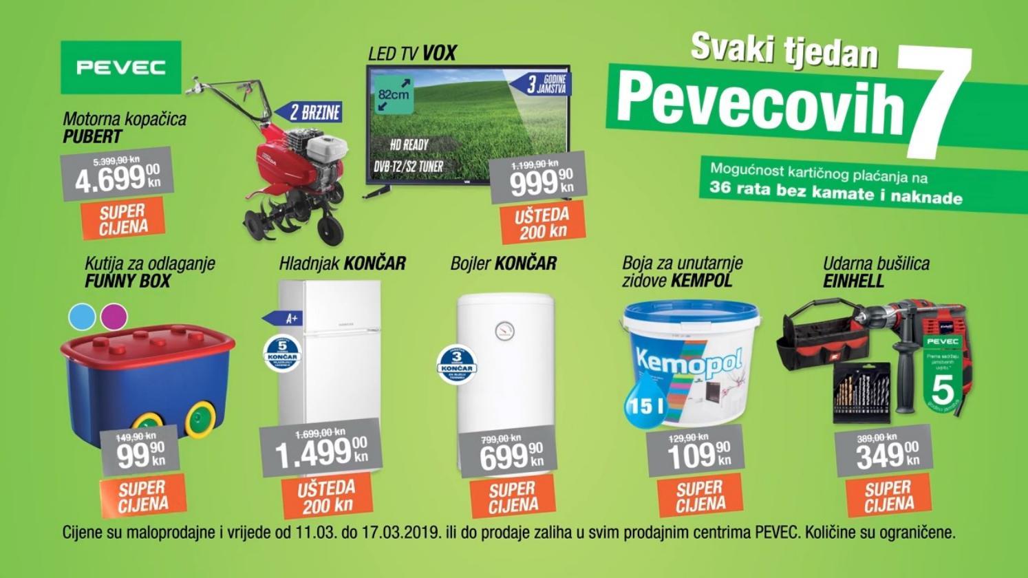 Nova Pevec tjedna sniženja od 11.- 17.03.2019. u svim Pevec baucentrima!