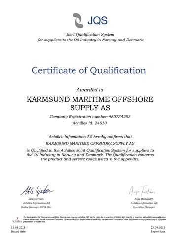 6 – KaMOS® Achilles Certification of Qualification - Certificates – KaMOS<sup>®</sup>