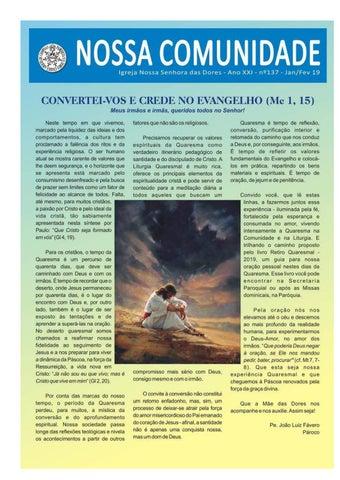 [Jornal Nossa Comunidade – Edição Nº 137 Janeiro/Fevereiro]