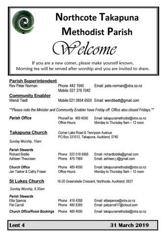 Takapuna Methodist Church Bulletin 31 March Lent 4