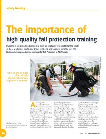 The importance of high quality fall protection training