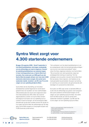 Syntra West persdossier WES-rapport augustus 2018.