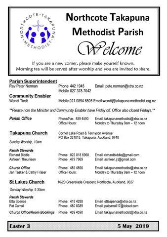 Takapuna Methodist Church Bulletin 5 May 2019