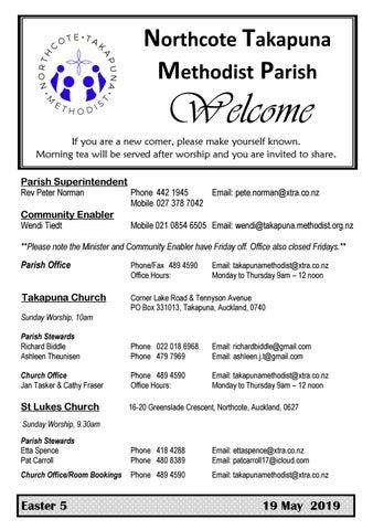 Takapuna Methodist Church Bulletin 19 May 2019