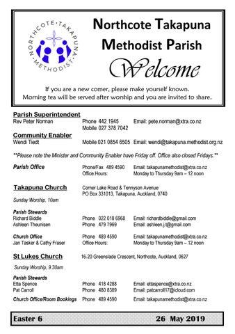 Takapuna Methodist Church Bulletin 26 May 2019