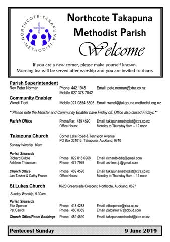 Takapuna Methodist Church Bulletin 9 June 2019 Pentecost Sunday2019