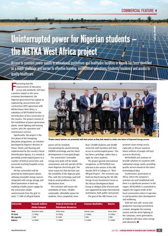 Uninterrupted power for Nigerian students − the METKA West Africa project