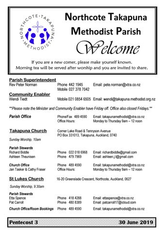 Takapuna Methodist Church bulletin 30 June 2019