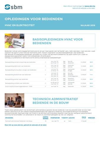 SBM Opleidingen voor bedienden HVAC en elektriciteit najaar 2019