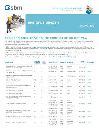 SBM EPB opleidingen najaar 2019