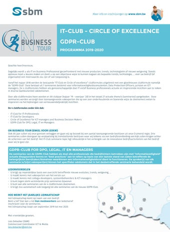 SBM IT-Club GDPR-Club najaar 2019