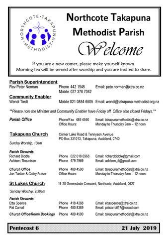 Takapuna Methodist Church bulletin 21 July 2019