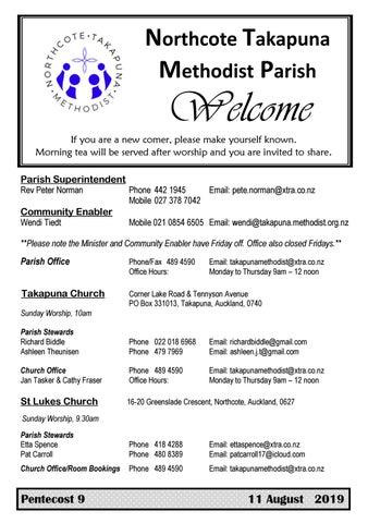 Takapuna Methodist Church bulletin 11 August 2019