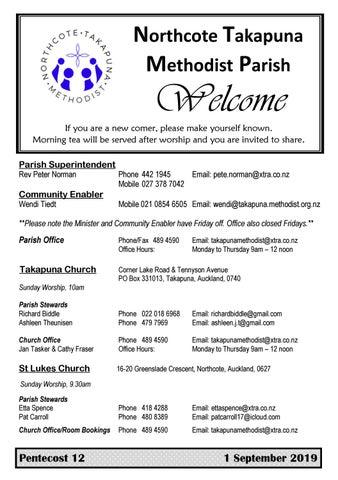 Takapuna Methodist Church bulletin 1 September 2019