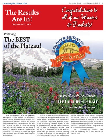 2019 Best of the Plateau