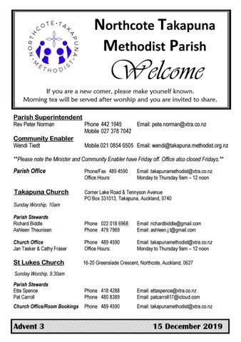 Takapuna Methodist Church bulletin 15 December 2019