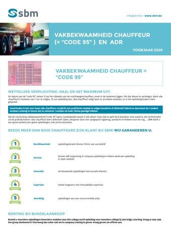 SBM vakbekwaamheid chauffeur en ADR Voorjaar 2020