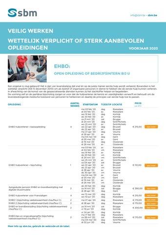 SBM Veilig werken - Wettelijk verplichte opleidingen Voorjaar 2020
