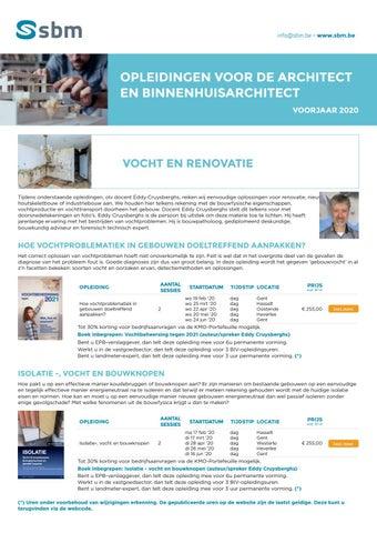 SBM opleidingen voor architect en binnenhuisarchitect Voorjaar 2020
