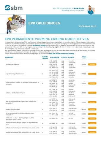 SBM EPB opleidingen Voorjaar 2020