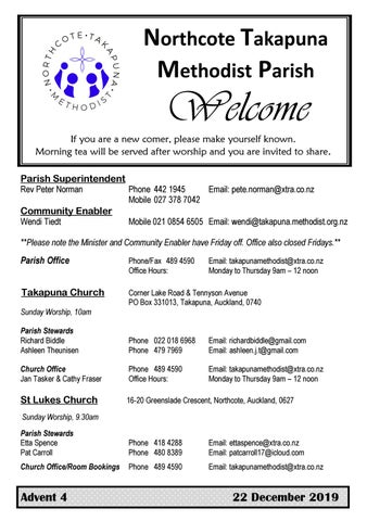 Takapuna Methodist Church bulletin 22 December