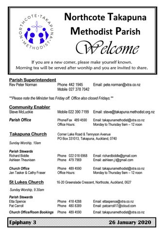 Takapuna Methodist Church bulletin 26 January 2020