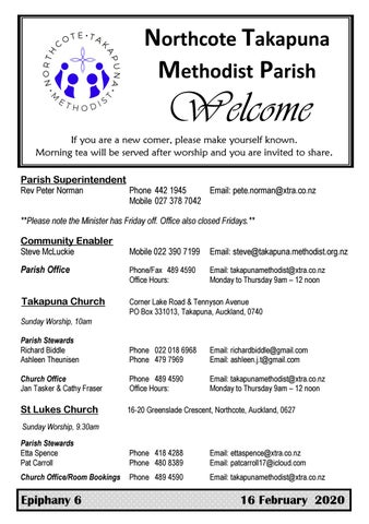 Takapuna Methodist Church bulletin 16 February 2020
