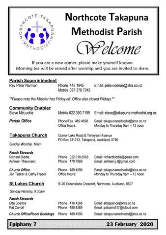 Takapuna Methodist Church bulletin 23 February 2020