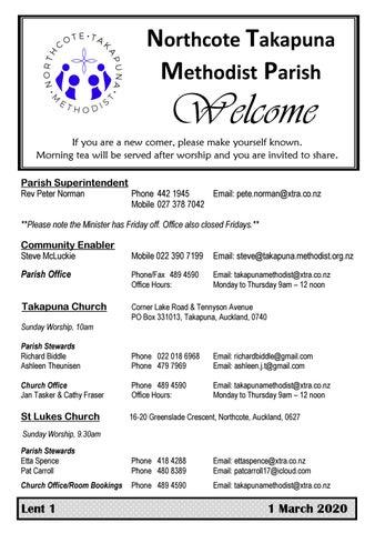 Takapuna Methodist Church bulletin 1 March 2020