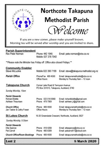 Takapuna Methodist Church bulletin 8 March 2020