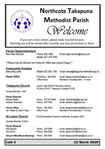 Takapuna Methodist Church Bulletin Sunday 22 March 2020