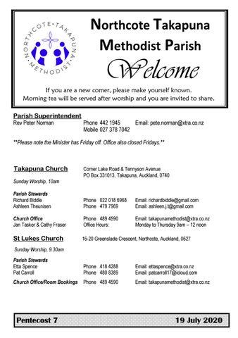 Takapuna Methodist Church Bulletin Sunday 19 July 2020