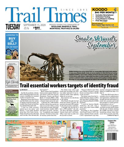 Trail Daily Times/West Kootenay Advertiser, September 15, 2020