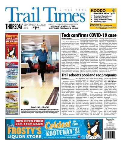 Trail Daily Times/West Kootenay Advertiser, September 17, 2020