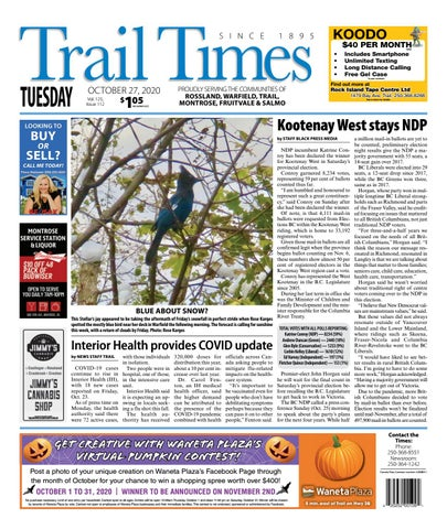 Trail Daily Times/West Kootenay Advertiser, October 27, 2020