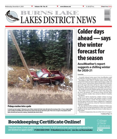 Burns Lake Lakes District News, November 4, 2020