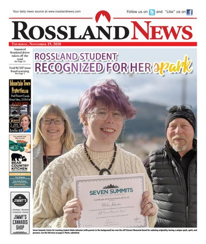 Rossland News/West Kootenay Advertiser, November 19, 2020
