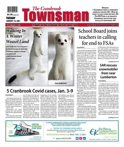 Cranbrook Daily Townsman, January 19, 2021