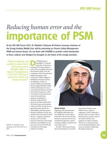 Reducing human error and the importance of PSM
