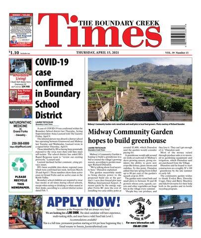 Boundary Creek Times, April 15, 2021