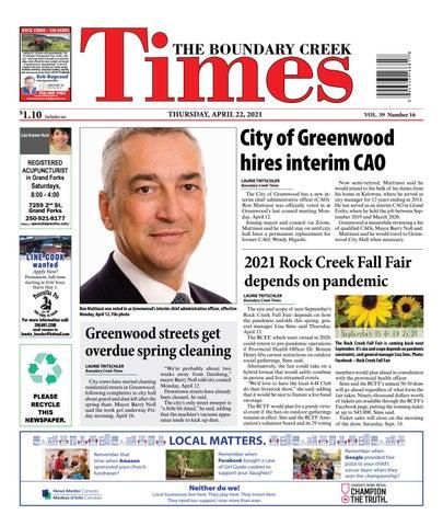Boundary Creek Times, April 22, 2021