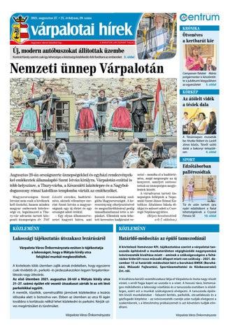 Várpalotai Hírek - 2021. 08. 27.
