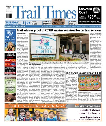 Trail Daily Times/West Kootenay Advertiser, September 14, 2021
