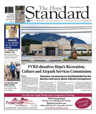 Hope Standard, October 8, 2021